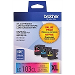 Genuine Brother LC-1033PKS High Yield Color (C/M/Y) Ink 3-Pack