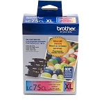 Genuine Brother LC-75 3PKS High Yield Color Ink Combo Pack