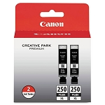 Genuine Canon PGI-250XL (6432B004) High Yield Pigment Black Ink Tank 2-Pack