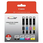 Genuine Canon CLI-251 (6513B004) Color (Black,Cyan,Magenta,Yellow) Ink Tank 4-Pack