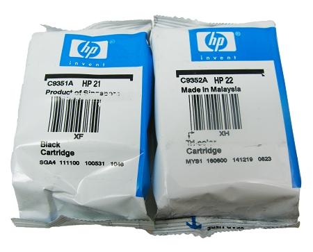genuine hp 21 hp 22 c9351an c9352an ink cartridge in foil packaging 2 pack. Black Bedroom Furniture Sets. Home Design Ideas