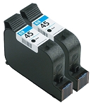 GENUINE NEW HP 45 (51645A) Black Ink Cartridge No Packaging 2-Pack