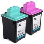 Compatible Lexmark 50 Black Ink Cartridge and Lexmark 80 Color Ink Cartridge - 2 Pack