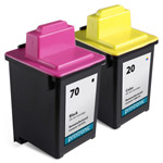 Compatible Lexmark 70 Black Ink Cartridge and Lexmark 20 Color Ink Cartridge - 2 Pack