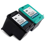 Compatible HP 74 Black Ink Cartridge and HP 75 Color Ink Cartridge - 2 Pack
