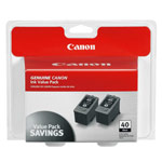 Genuine Canon PG-40 - 0615B013 Black Ink Cartridge 2 Pack
