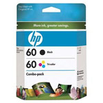 Genuine Hewlett Packard (CD947FN) HP 60 Black & Color Ink Cartridge Combo Pack