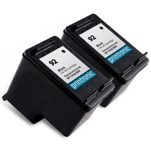 2 Pack Compatible HP 92 (C9362WN) Black Ink Cartridge