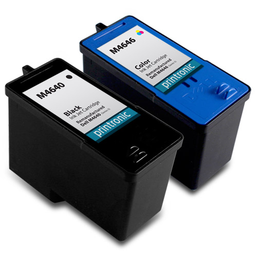 2 Pack Compatible Dell M4640/Series 5 Black Ink Cartridge and Dell M4646/Series 5 Color Ink Cartridge