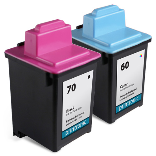 2 Pack Compatible Lexmark 60 Black Ink Cartridge and Lexmark 70 Color Ink Cartridge