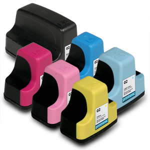 6 Pack Compatible HP 02 (Black/Cyan/Magenta/Yellow/Light Cyan,Light Magenta)