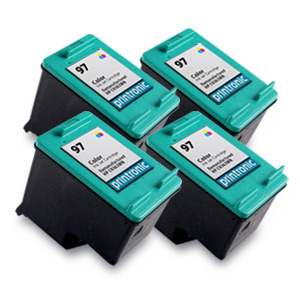 4 Pack Compatible HP 97 (C9363WN) Color Ink Cartridge
