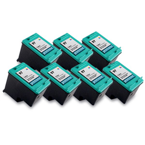 7 Pack Compatible HP 97 (C9363WN) Color Ink Cartridge