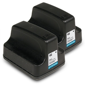 2 Pack Compatible HP 02 C8721WN Black Ink Cartridge