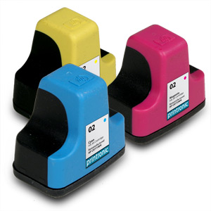 3 Pack Compatible HP 02 Color Cyan/Magenta/Yellow