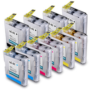 10 Pack Brother LC-51BK/C/M/Y Compatible Inkjet Cartridge Set