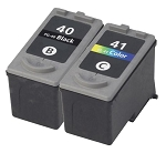 Compatible Canon PG-40 Black Ink Cartridge and Canon CL-41 Color Ink Cartridge 2 Pack