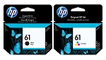 Genuine HP 61 Black/Tri-color Ink Cartridges - 2 Pack