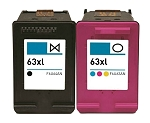 2 Pack of Compatible HP 63XL Black and Color Ink Cartridge