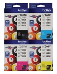 4 Pack of Genuine Brother LC201 Ink Cartridge in Bulk Packaging