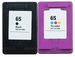 2 Pack of Compatible HP 65 Black and Color Ink Cartridge