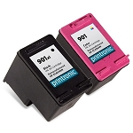 2 Pack Compatible HP 901XL Black and HP 901 Color Ink Cartridge