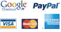 We accept Google Checkout, Paypal, Visa, Mastercard, and American Express as forms of payment.