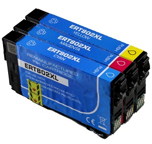 Remanufactured Epson 802 802XL Color Ink Cartridge - 3PK