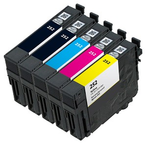 5 Pack Remanufactured Epson 252 Ink Cartridge