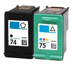 Compatible HP 74 and HP 75 Ink Cartridge - 2 Pack