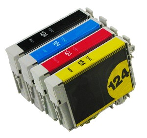 4 Pack of Compatible Epson 124 Ink Cartridge (B/C/M/Y)