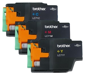 GENUINE NEW Brother LC71 Ink Cartridge No Packaging 3-Pack