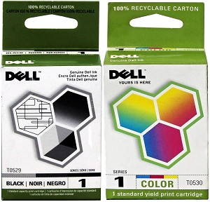 2 Pack of Genuine Dell Series 1 T0529 T0530 Ink Cartridge
