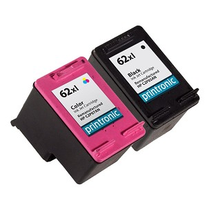 2 Pack of Compatible HP 62XL Black and Color Ink Cartridge