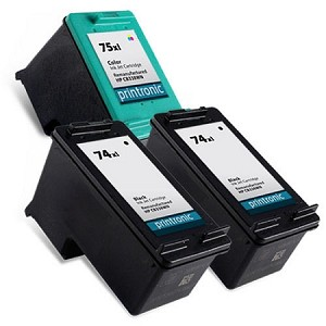 Compatible HP 74XL (2) and HP 75XL (1) - 3 Pack