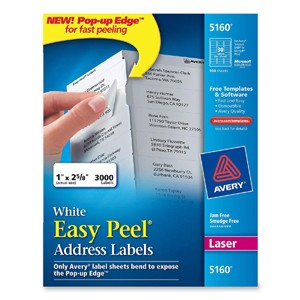 Avery Easy Peel Address Label 3000 ADDRESS LABELS WHITE 1X2-5/8 FOR LASER PRINTERS