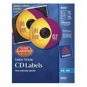 Avery Ink Jet CD/DVD Label(s) 20 LABELS DISC & 40 SPINE- 08692 CD/DVD LABELS FOR INKJETS