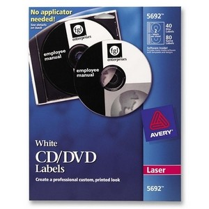 Avery Laser CD/DVD Label(s)CD/DVD LABELS FOR LASER PRINTERS 4/Sheet - 40 / Pack - White