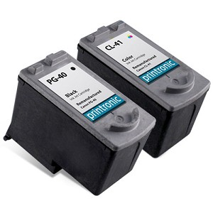 2 Pack Compatible Canon PG-40 Black Ink Cartridge and Canon CL-41 Color Ink Cartridge