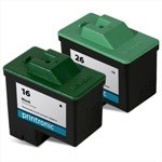 Compatible Lexmark 16 Black Ink Cartridge and Lexmark 26 Color Ink Cartridge - 2 Pack