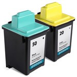 2 Pack Compatible Lexmark 50 Black Ink Cartridge and Lexmark 20 Color Ink Cartridge