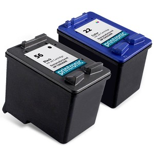2 Pack Compatible HP 56 Black Ink Cartridge and HP 22 Color Ink Cartridge