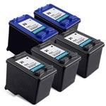 5 Pack Compatible HP 21 Black Ink Cartridge and HP 22 Color Ink Cartridge