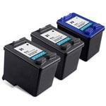3 Pack Compatible HP 21 Black Ink Cartridge and  HP 22 Color Ink Cartriage