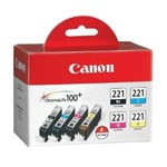 Genuine Canon CLI-221 (2946B004) Black and Color Ink Cartridge Multipack