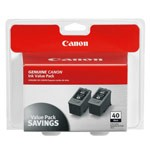 Genuine Canon PG-40 (0615B013) Black Ink Cartridge 2 Pack