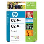 Genuine Hewlett Packard (C9500FN) HP02 Black Ink Cartridge 2 Pack