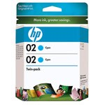 Genuine Hewlett Packard (CD996FN) HP02 Cyan Ink Cartridge 2 Pack