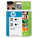 Genuine Hewlett Packard (C9508FN) HP 21 Black Ink Cartridge 2 Pack