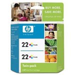 Genuine Hewlett Packard (CC580FN) HP 22 Color Ink Cartridge 2 Pack